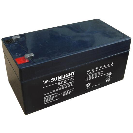 Sunlight Akkumulátor 12V/3,3 Ah zárt, gondozásmentes